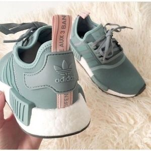 Adidas NMD R1 Vapour Green Pink Sneakers 8.5